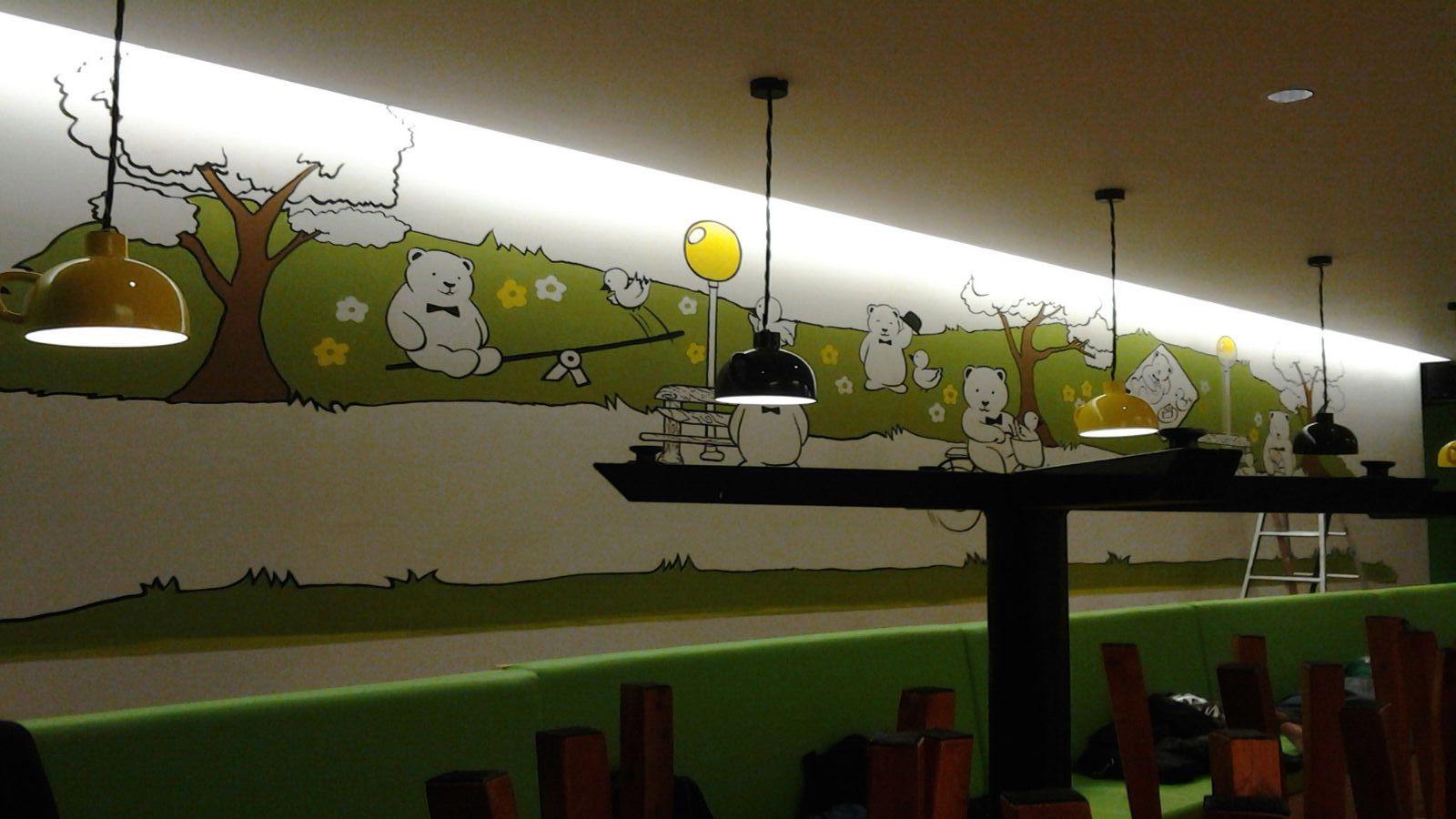 Mural lukisan dinding dekorasi interior kamo kuma dessert for Mural untuk cafe