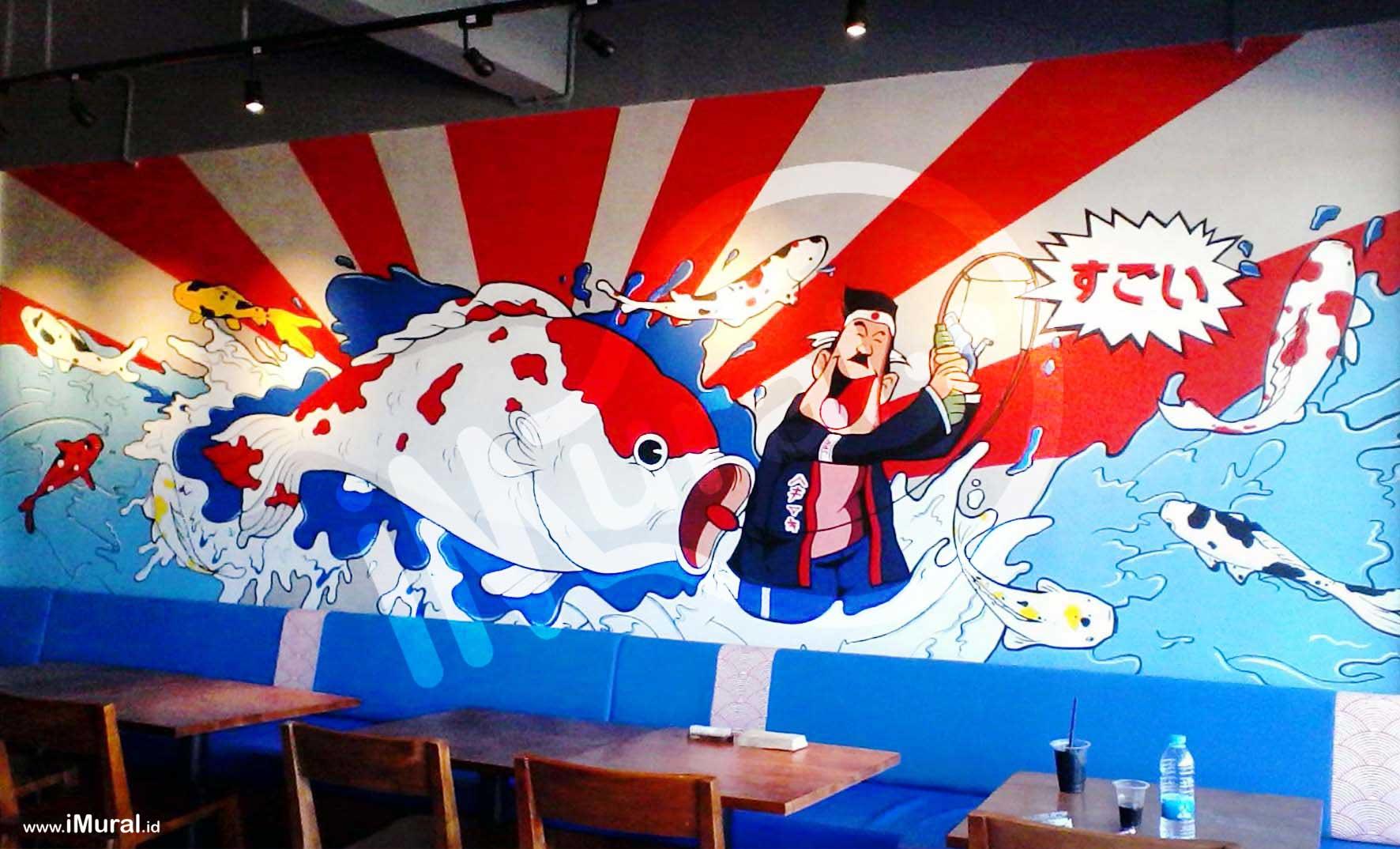 Mural at japanese restaurant imural